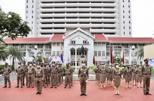 กิจกรรมเคารพธงชาติประจำเดือน มิ.ย. 2563 ณ บริเวณหน้าอาคาร 1 ตร.